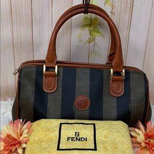 Authentic Fendi FF Canvas Satchel Bag